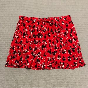 Red and Black Floral Skater/Circle Skirt